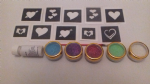 Heart mini themed glitter tattoo set including 30 stencils + 5 glitter colours + glue hearts Valentines love